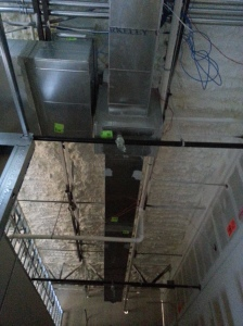 Duct work Installed in office areas. Spray Foam installed at ceiling